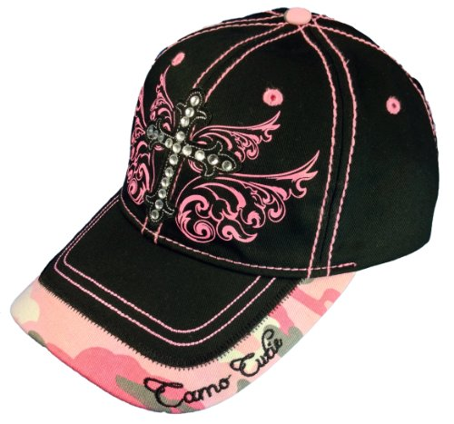 Camo Cutie Cap Ladies Black Pink Rhinestone Cross Ball Cap Womans Rhinestone (Cutie Rhinestone)