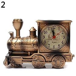 ekqw015l Fashion Clock for Home Living Room Bedroom Decor & Cartoon Locomotive Train Alarm Clock Antique Engine Design Table Desk Decor
