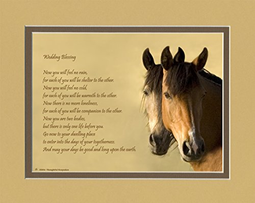 Wedding Gift for the Couple. Horses Photo with ''Now You Will Feel No Rain'' Wedding Blessing Poem, 8x10 Double Matted. Special Gift for Bride and Groom. by Anniversary & Wedding Gifts