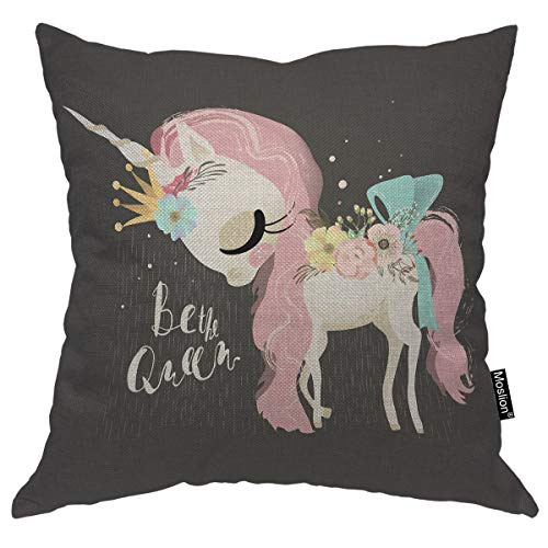 Moslion Unicorn Pillow Case Dreaming Queen Unicorn Girl in Crown Flowers Tied Bow Throw Pillow Cover Decorative Happy Father's Day Square Cushion Accent Cotton Linen Canvas Home 18x18 Inch