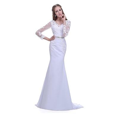 Timeweddingdress Women\'s Three Quarter Sleeve Wedding Dress at ...