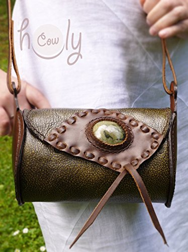 Women's Handmade Medieval Green & Brown Pebbled Leather and Green Gemstone Accented Handbag  - DeluxeAdultCostumes.com #Renaissancecostumeaccessory