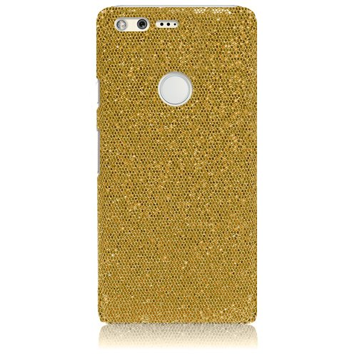 Xtra-Funky Case Compatible with Google Pixel XL, Shiny Sparkling Sequin Glitter Cover - Gold