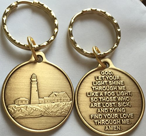 Lighthouse Medallion (Fog Light Prayer Keychain Lighthouse Bronze Step 12 Spiritual Medallion Key Tag)