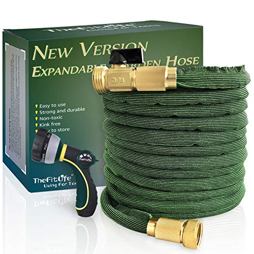 TheFitLife Flexible and Expandable Garden Hose - [Upgraded 2019] 50% More Durable and 50% Lighter, 25/50/75/100 FT, Using Interwoven Elasticated Fabric, Resistant to Fraying Bursting Cracking (50 FT)