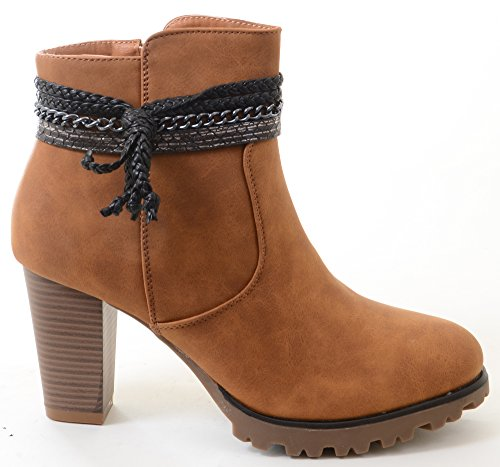 Fourever Funky Kwastje Western Chunky Lug Heels Suède Enkellaarsjes Boots Vegan Booties A-camel