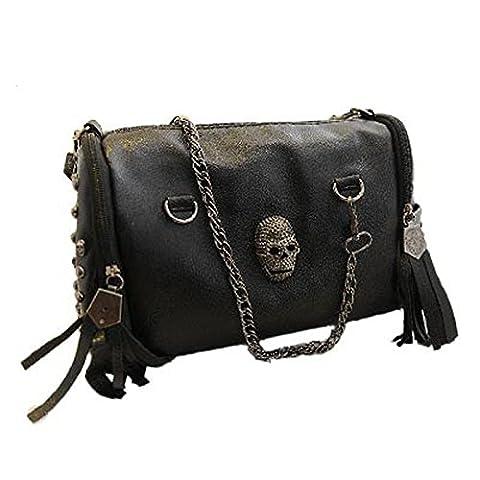 New 2017 European and American Style Tote Women Handbags Tassel Skull Rivet Chain Bag PU Leather Shoulder Bags (Nike Goddess Necklace)