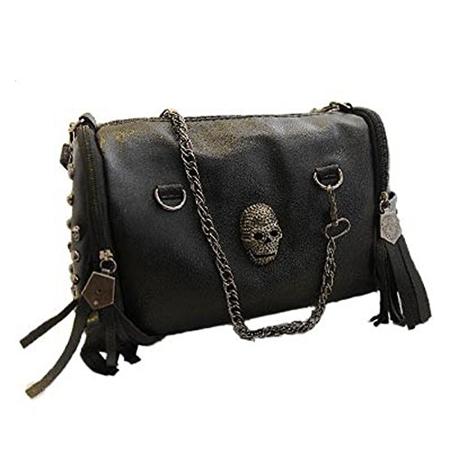 New 2017 European and American Style Tote Women Handbags Tassel Skull Rivet Chain Bag PU Leather Shoulder Bags - Prices Prada Watches