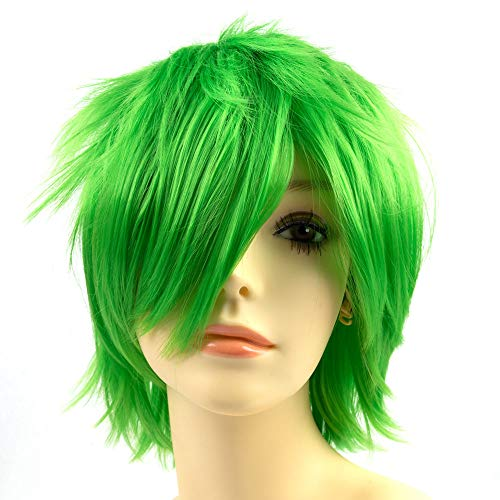 Modernfairy Hair Heat Resistant Synthetic Wigs Short Glueless Costume Wig Cosplay Party for Women Men -