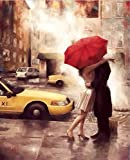 DIY 5D Diamond Painting by Number Kits, Crystal Rhinestone Diamond Embroidery Paintings Pictures Arts Craft for Home Wall Decor, Full Drill Canvas,Lovers under red umbrella (LX-73HSLRZ-15.7x11.8in)
