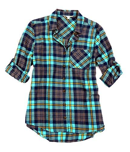 California Pocket C&c (C & C California Women's LS Button Up Shirt Medium Atlantis)