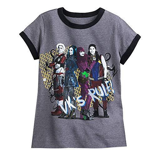 Disney Descendants 2 Cast Ringer T-Shirt for Girls Size S (5/6) Gray (The Of Ringer Cast)