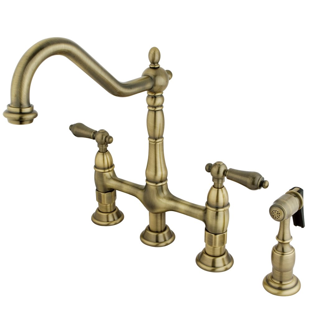 This warm brass bridge faucet will be right at home in your French country or French farmhouse kitchen design plan with its traditional good looks and friendly price tag!