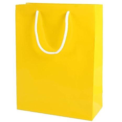 Thepaperbagstore 20 Bolsas Pequeñas De Papel para Fiestas Y Regalos, Brillantes, con Manijas De Cuerda - Amarillas - 150x220x80mm