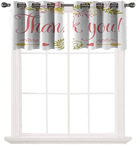 Nature Decor 2 pcs 52×18 Short Curtains Blackout Valance,Romantic Thank You Quote Surrounded with Leaves Ivy Hearts and Arrows Artwork Thermal Insulated Light Reducing Drapes for Half Window,Multicol
