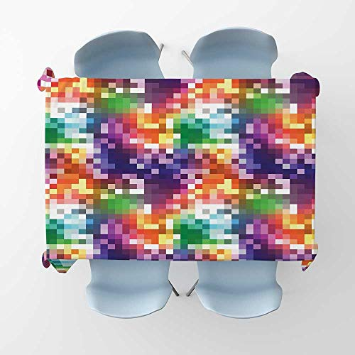 kungfu Decoration Colorful Fabric Tablecloth Mosaic Rainbow Colored Checkered Squares Abstract Pixel Art Inspired IllustrationRectangle/Oblong Table Cover W 52