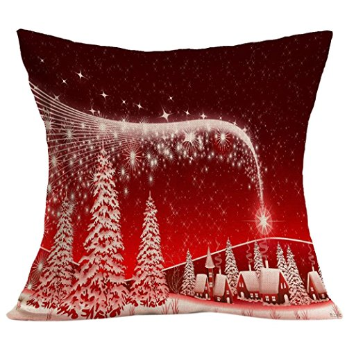 Gotd Merry Christmas Pillow Case Gifts under Christmas Tree Xmas 18 x 18 Cushion Cover Merry Chritmas Home Decor Design Throw Pillow Cover Pillow Case 18 x 18 Inch Cotton Linen for Sofa (Xmas Red A)