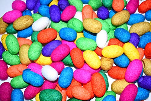 Dyed Mulberry - CrafTreat - Silk Cocoons   Hand Dyed   Mulberry   Assorted Colors (60 Pcs)   for Jewellery Making, Embellishments, Silk Flowers, Silk Paper