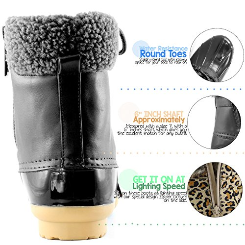 DailyShoes Frauen Warm Schnee Booties Up Knöchel High Cashmere Kragen Ente Padded Mud Gummi Regen Stiefel Schwarz