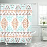 TOMPOP Shower Curtain Blue Pattern Southwest Inspired Navajo Geometric Aztec Peach Color Waterproof Polyester Fabric 72 x 72 Inches Set with Hooks