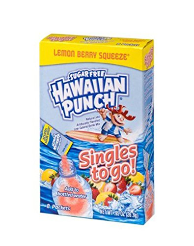 Hawaiian Punch Singles To Go Powder Packets Water Drink Mix Lemon Berry Squeeze 96 Single Servings Pack of 12