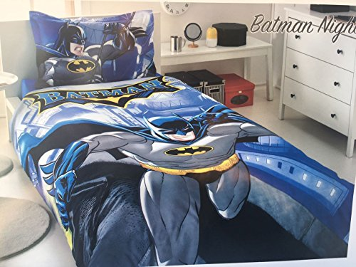 Batman Night Quilt/Duvet Cover Set, Single/Twin Size, Made in Turkey, 100% Turkish Cotton Batman Bedding Set 3 PCS