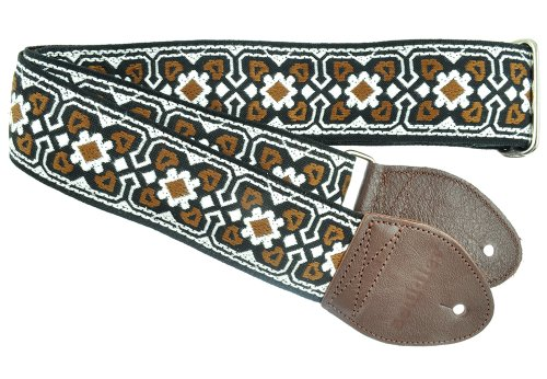 Souldier GS0299NM02WB Custom USA Handmade Fillmore Acoustic Guitar Strap - Brown/White