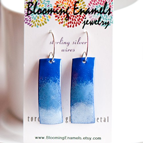Large Dangle Copper Enamel Earrings in Blue Colors