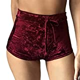 TOB Women's Soft Stretchy Drawstring High Waist Velvet Club Shorts