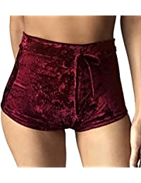 Women's Casual Soft High Waist Drawstring Velvet Club Shorts