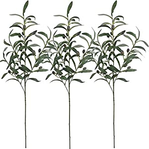 """Warmter 28"""" Artificial Olive Branches Plants Blackish Green Olives Fruit Artificial Greenery UV Resistant Plants Artificial Plant for Indoor Outside Decor 3 Pcs 112"""