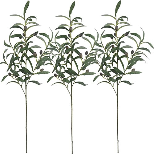 Warmter 28 Artificial Olive Branches Plants Blackish Green Olives Fruit Artificial Greenery UV Resistant Plants Artificial Plant for Indoor Outside Decor 3 Pcs