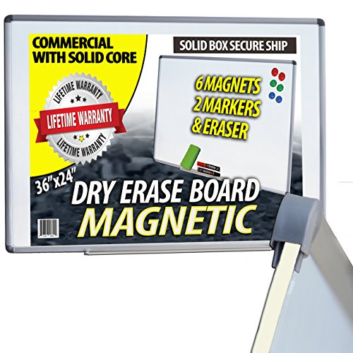 iPrimio - Dry Erase & Magnetic Commercial Quality- Solid Core - 6 Magnets, 2 Markers, Eraser, & Tray - Easily Draw/Wipes Clean - Metal Backing - Ships in Solid Core Box -24 x 36 Inch