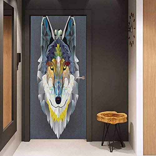 Onefzc Pantry Sticker for Door Zoo Artsy Graphic Design of Coyote Wolf Beast Modern Portrait Geometric Colorful Print Sticker Removable Door Decal W38.5 x H79 Multicolor
