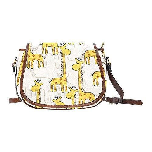 Custom Print Saddle Crossbody Cute Giraffe Messenger Shoulder Bag Purse