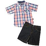 English Laundry Toddler Boys' Long Sleeve Two Pocket Plaid Sport Shirt and Denim Short, Multi Plaid, 4T
