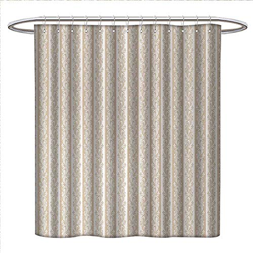 Anniutwo Ivory Shower Curtains Sets Bathroom Victorian Swirls in Striped Pattern Baroque Style Renaissance Inspirations Artsy Image Fabric Bathroom Decor Set with Hooks W72 x L96 Cream Tan