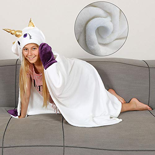 Kanguru Wearable Hooded Blanket Gifts for Girl 5 6 7 8 9 10 Year Old- Fun Christmas and Birthday Gifts for Kids (White)