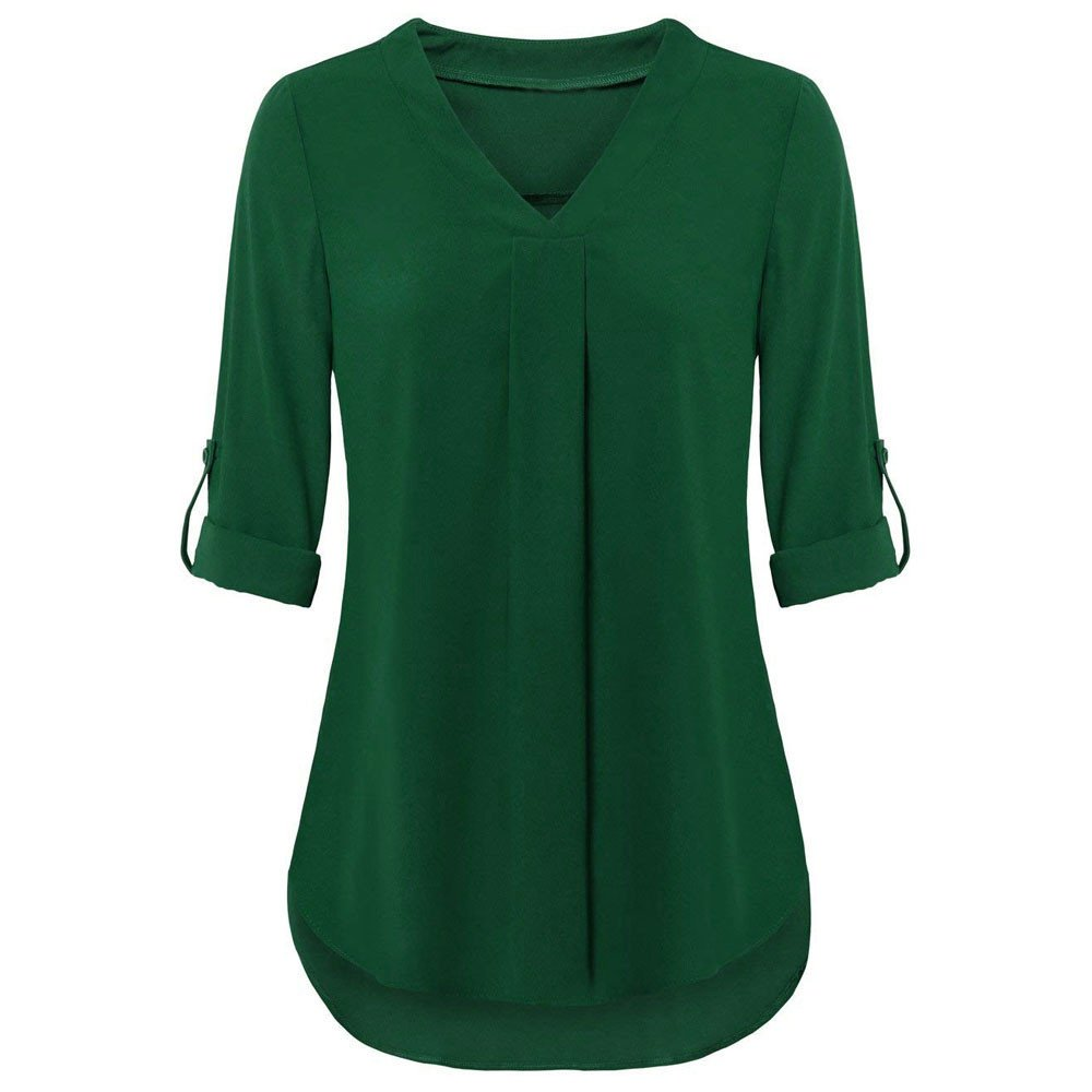 Ulanda Elegant Womens Shirts Roll-Up Long Sleeve V Neck Button Casual Loose Tops Tunic Blouse