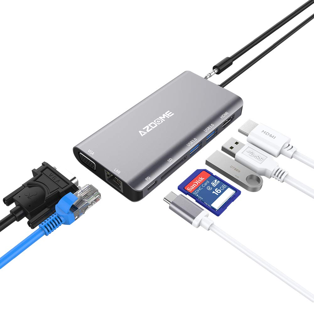 AZDOME 4 in 1 USB Type C Adapter, 4K@30Hz Female HDMI, Type C PD Power Delivery Port, USB 3.0 X 2 for New Mackbook, ChromeBook Pixel and More Type C Devices CAAZDOME-JF16
