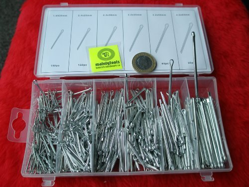 Toolzone 500pc Cotter Split Pins In Plastic Case
