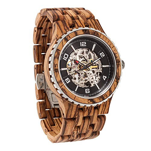 Wilds Wood Watches Premium Eco Self-Winding Wooden Wrist Watch for Men, Natural Durable Handcrafted Gift Idea for Him