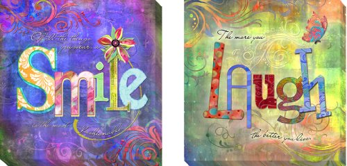 Smile Fashion & Laugh by Connie Haley 2-pc Gallery-Wrapped Custom Canvas Giclee Set (Ready-to-Hang) (Double Wrap Haley)