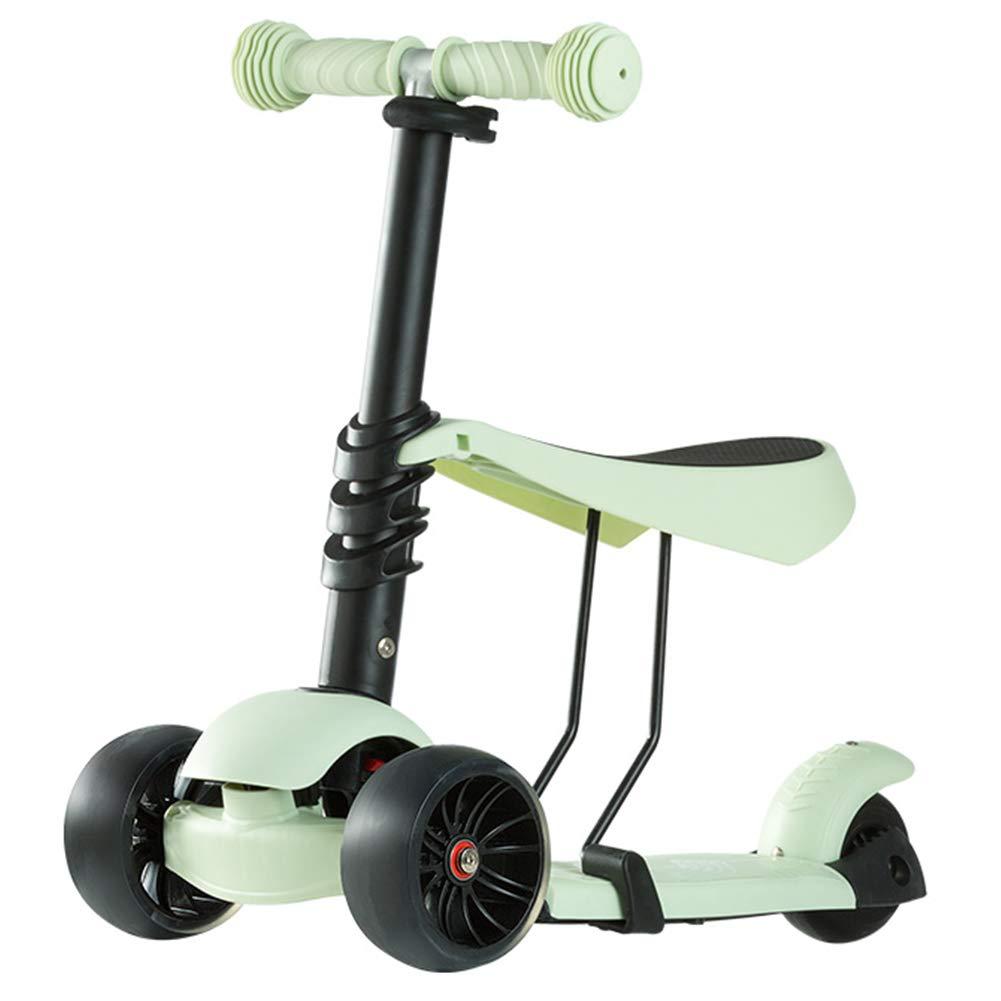一番人気物 キックスクーター三輪車スケートボードペダル式乗用スタントスクーター折りたたみ Tバーハンドル座席付き調節可能なLEDライトアップホイール付き B07H84YNLV B07H84YNLV Green Green Green Green, リミー:30e5fb38 --- a0267596.xsph.ru