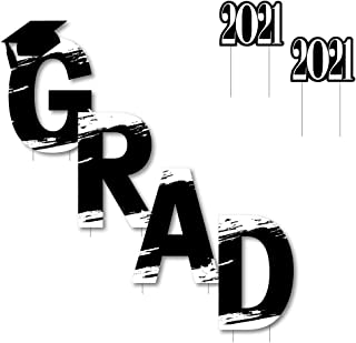 product image for Big Dot of Happiness Black and White Grad - Best is Yet to Come - Yard Sign Outdoor Lawn Decorations - Black and White 2021 Graduation Party Yard Signs - Grad