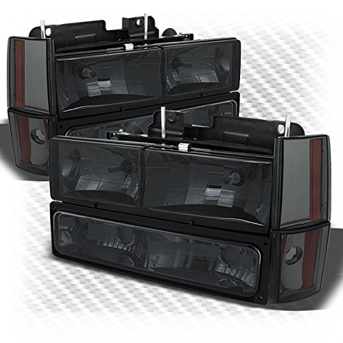 For 1988-1993 C/K Truck Smoked Headlights + Corner Lights + Parking Lights Combo Pair Left+Right 1989 1990 1991 (Chevy C/k Truck Parking Light)