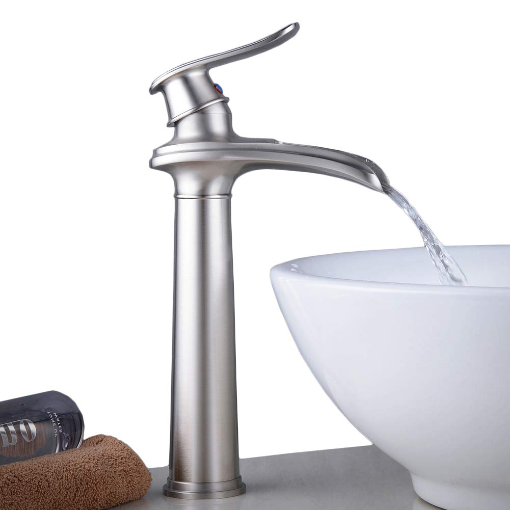 Tall-brushed Nickel Hiendure Tall Bathroom Mixer Taps Brushed Nickel Counter Top Tap Sink Single Lever Basin Mono Sink Faucet
