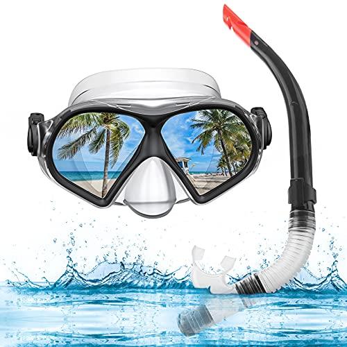 WeaArco Erwachsene Taucherbrille, Erwachsene Schnorchelset Anti-Fog Schnorchelbrille mit Wasserausblasventil Semi Dry top Anti-Leck Taucherbrille für Schnorcheln