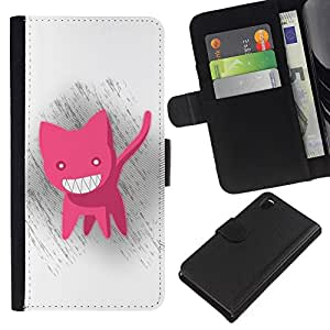 KingStore / Leather Etui en cuir / Sony Xperia Z3 D6603 / Divertido Gato rosado lindo
