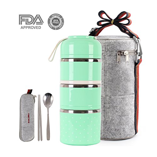 Cute Lunch Box Insulated Lunch Bag Bento Box Food Container Storage Boxes With Cutlery For Kids Children Teenager Adults Office School Camping (3 tiers(green))
